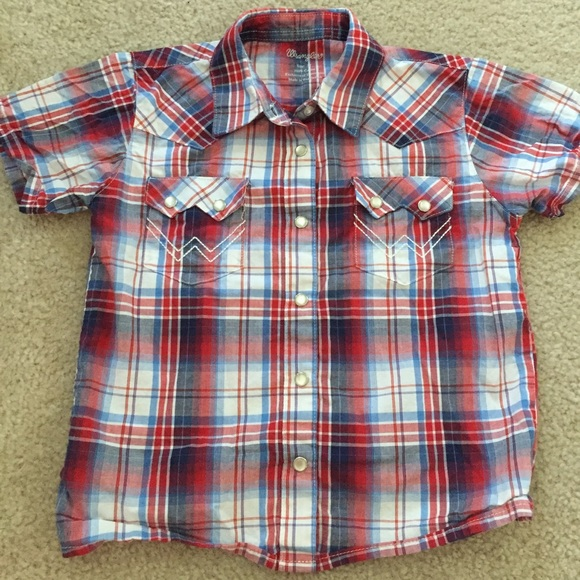 19fc3f14 Wrangler Shirts & Tops | Sz 3t Blue Red Pearl Snap Western Shirt ...